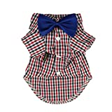 Fitwarm Western Plaid Shirts for Dog Clothes Pet Polo Apparel + Wedding Bow, Red, Medium