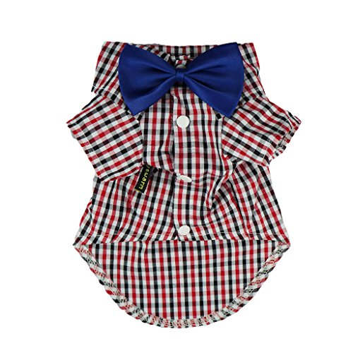 Fitwarm Western Plaid Shirts for Dog Clothes Pet Polo Apparel + Wedding Bow, Red, XXXL by Fitwarm