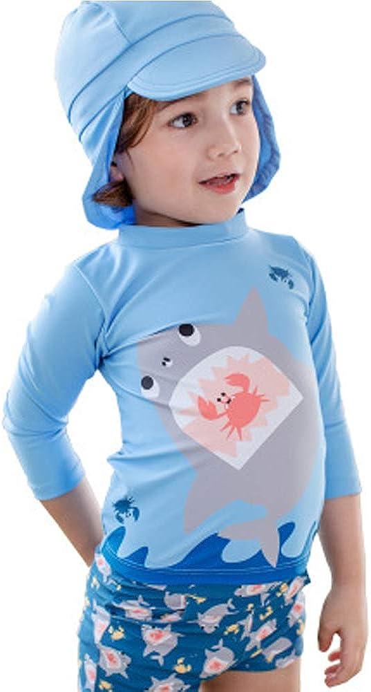 Kids Baby Boys Shark Swimsuit Two-Pieces Rash Guard Long Sleeve Bathing Suit Swimwear Sun Protection UPF50 Suncap
