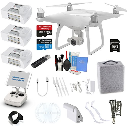 DJI Phantom 4 Quadcopter Kit Bundle with 4K Camera Gimbal, 3 DJI Batteries and Accessories (11 Items)