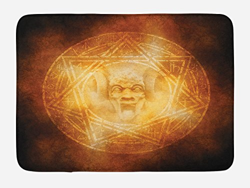 Ambesonne Horror House Bath Mat, Demon Trap Symbol Logo Ceremony Creepy Scary Ritual Fantasy Paranormal Design, Plush Bathroom Decor Mat with Non Slip Backing, 29.5 W X 17.5 W Inches, Orange by Ambesonne