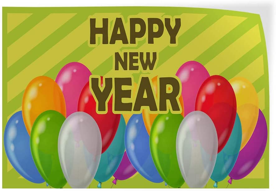 Decal Sticker Multiple Sizes Happy New Year Balloons Holidays and Occasions Happy New Year Outdoor Store Sign Green Set of 5 27inx18in