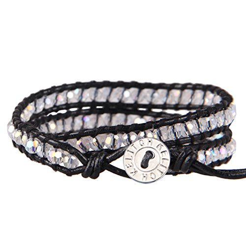 2 Strands White Clear Crystal Bead Black Leather Bracelet