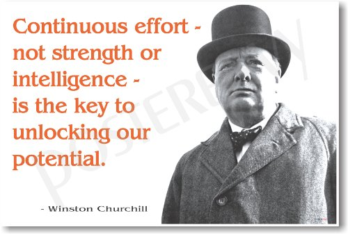 """Winston Churchill - """"Continuous Effort ..."""" - NEW Famous Person Poster"""