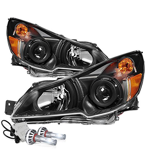 VIPMOTOZ Black Housing OE-Style Projector Headlight Headlamp Assembly For 2010-2014 Subaru Legacy & Outback - Built-In Diamond White CSP LED Low Beam, Driver & Passenger -