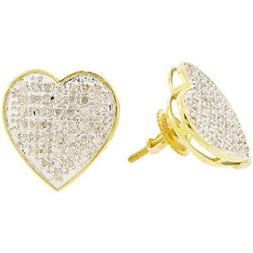 Pave Diamond Heart Earrings (10k Two Tone Gold Diamond Heart Stud Earrings (0.25ctw, I-J Color, I2-I3 Clarity), 14mm)