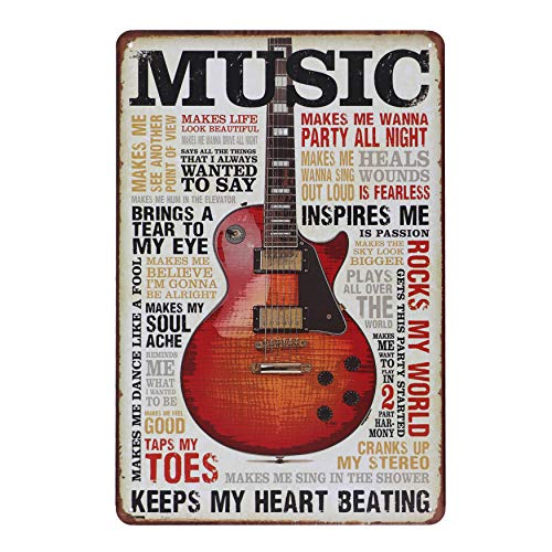 Hai dou ya About Music Retro Nostalgic Vintage Metal Tin Sign Wall Plaque Poster Cafe Bar Pub Wall Home Decoration 12 X 8 Inches