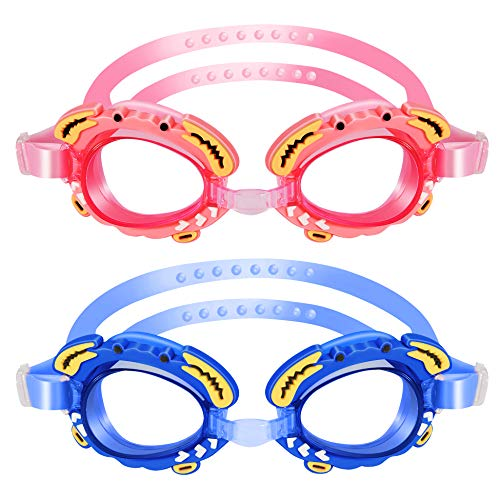 Alyen Kids Swim Goggles 2 Pack, Clear Vision Swimming Goggles for Children and Early Teens(Age 5-12 Years Old)+Ear Plugs,Anti-Fog Eye Protection Goggle,Leak-Proof, Soft Silicone Frames, Blue&Pink