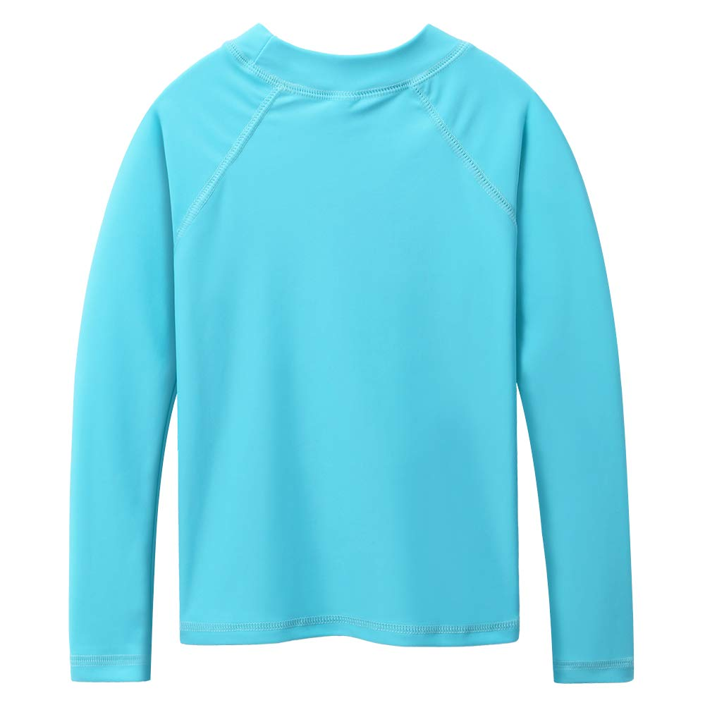 TFJH E Long Sleeve Swim Shirt for Girls Rash Guard Suit Sun Protection 50+ 9-10years, Cyan 12A by TFJH E (Image #2)