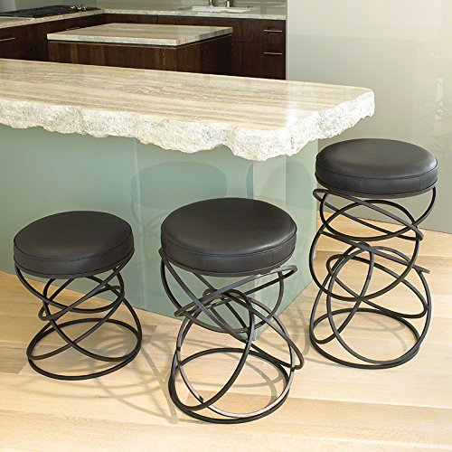 Luxe Entwined Rings Black Cowhide Leather Stool | Iron Circles Metal Round Seat by Global Views (Image #2)