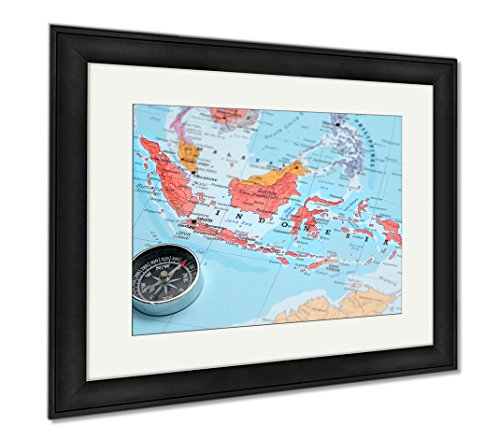 Ashley Framed Prints Travel Destination Indonesia Map With Compass, Wall Art Home Decoration, Color, 26x30 (frame size), Black Frame, AG5972167 by Ashley Framed Prints