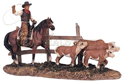 StealStreet SS-G-11384, Cowboy On Horse Collectible Western Rodeo Decoration Figurine Statue