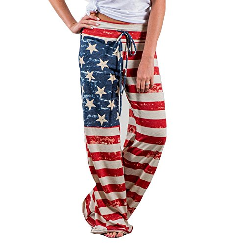 Women Pants Neartime Print Loose Casual Pants American Flag Drawstring Wide Leggings ()