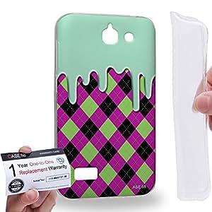 Case88 [Huawei Ascend G730] Gel TPU Carcasa/Funda & Tarjeta de garantía - Art Fashion Melting Argyle Pattern Art1231