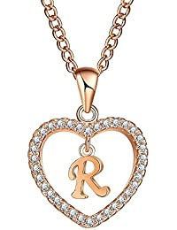 Initial Heart Necklace Letter A-Z Necklace Heart Love Necklace CZ Cubic Zirconia Pendant for Women Girls