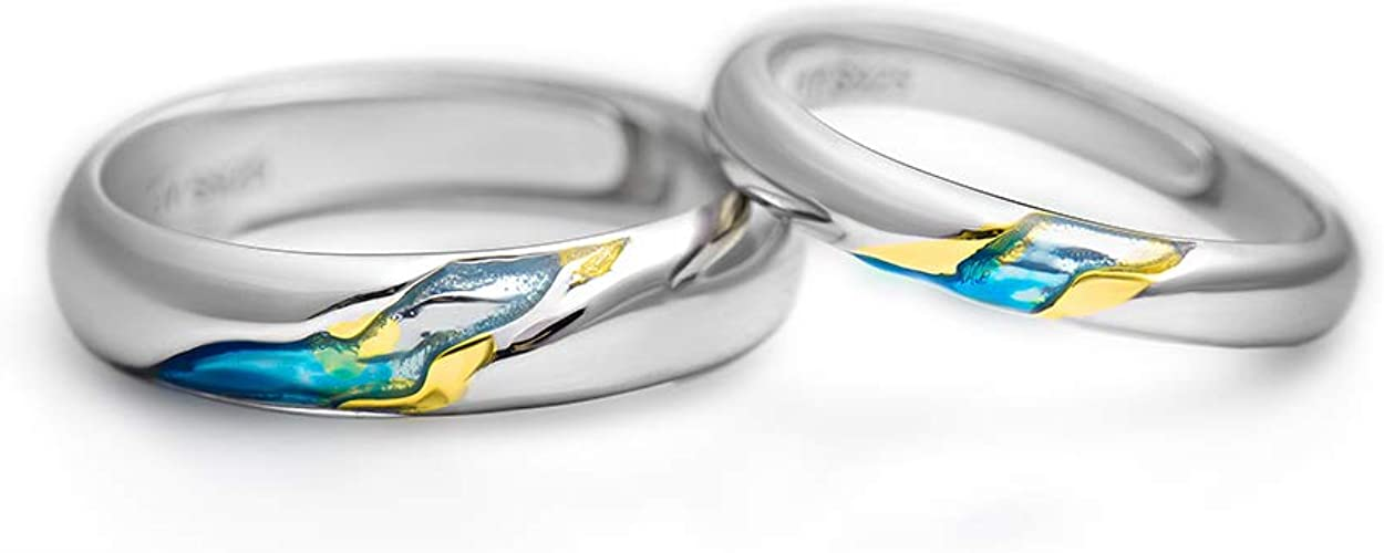 NEW Love Yellow Silver Ring Band Wrap Heart Rings Stainless Steel Jewelry Gift