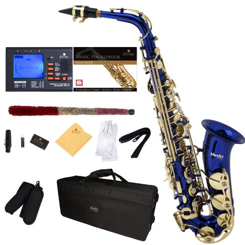 Mendini by Cecilio MAS-BL+92D+PB Blue Lacquer E Flat Alto Saxophone with Tuner, Case, Mouthpiece, 10 Reeds and More