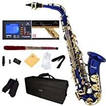Mendini E-Flat Alto Saxophone, Blue Lacquered and Tuner, Case, Pocketbook - MAS-BL+92D+PB