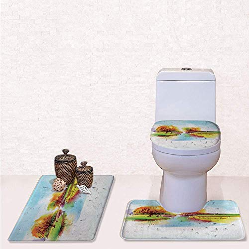 Print 3 Pcss Bathroom Rug Set Contour Mat Toilet Seat Cover,Vibrant Fall Landscape in Pastoral Nature with Reflections Meadow Field Rural Scene with Multi,decorate bathroom,entrance door,kitchen,be