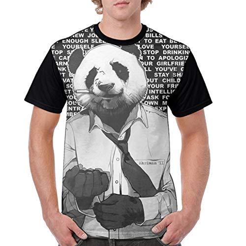 BABBY Cool Panda Men Summer Funny Print Short Sleeve Top Tee -
