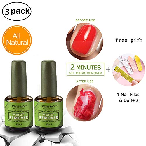 2 Pcs Magic Nail Polish Remover, Professional Removes Soak-Off Gel Polish in 3-5 Minutes, Easily & Quickly, Don't Hurt Your Nails - 15ml Each