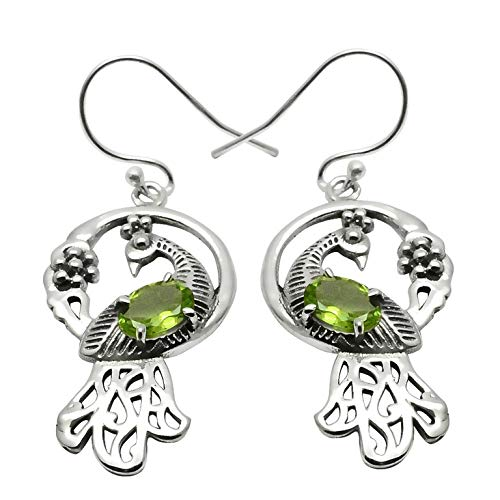 Silver Palace Sterling Silver Handmade Peridot Earring For Womens And Girls