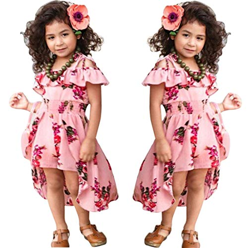 NoNoAnt Kids Girls Summer Sling Sweet Floral Dress Elegant Girl Princess Ruffles Irregular Culotte Dresses 3-8 Year (Pink, -