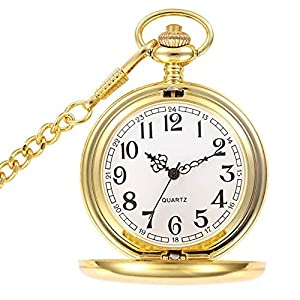 WIOR Classic Smooth Vintage Pocket Watch Sliver Steel Mens Watch with 14 in Chain for Xmas Fathers Day Gift (Golden)