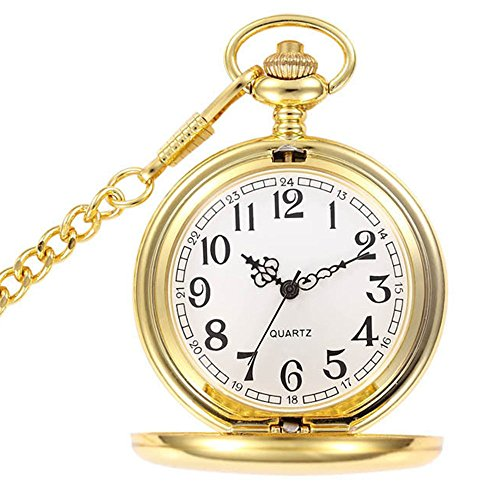 Silver Pocket Watch Gold White - WIOR Classic Smooth Vintage Pocket Watch Sliver Steel Mens Watch with 14 in Chain for Xmas Fathers Day Gift (Golden)