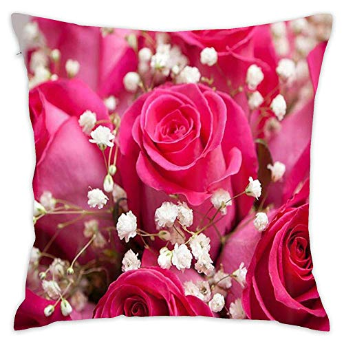 Podas Big Rose Flowers Shower Curtain Bath Rug Set Natural Floral Photography Love Wallpaper Decorative Pillow Case Throw Pillows Covers for Couch/Bed 18 X 18 Inch Home