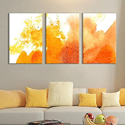 3 Panel Canvas Wall Art - Orange Colored Multi-Splattered Watercolor Painting - Giclee Print Gallery Wrap Modern Home Art Ready to Hang - 16
