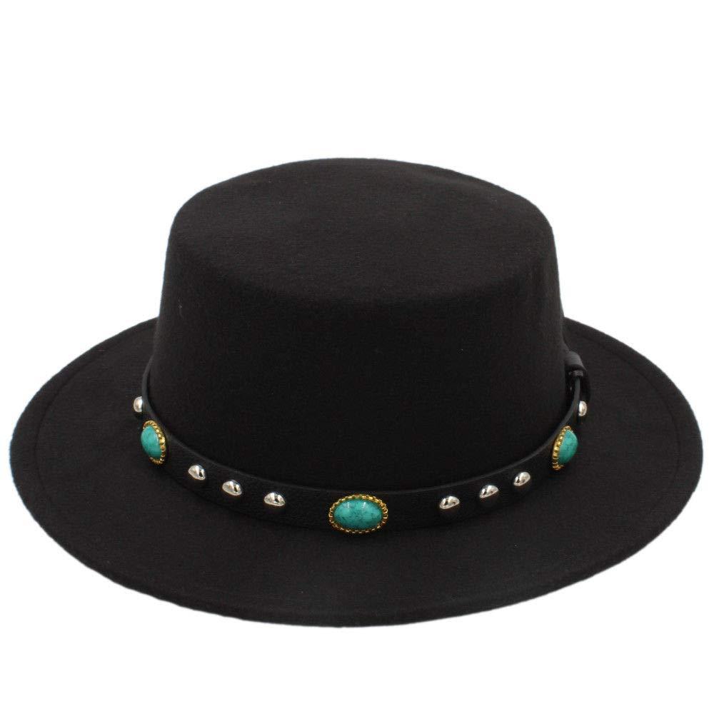 Elee Women Men Wool Boater Hat Wide Brim Pork Pie Cap Turquoise Rivets Leather Belt (Black)