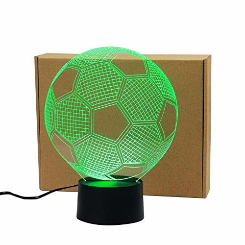 Football Soccer Colorful Sport Patterns Acrylic Visual Touch Table Lamp Bar Art Decor USB 3D LED Desk Night Light 3D-TD20 by AUCD