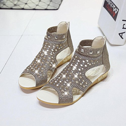 Jamicy Women Sandals, Spring Summer Ladies Women Fish Mouth Hollow Wedge Roma Sandals Shoes Gold