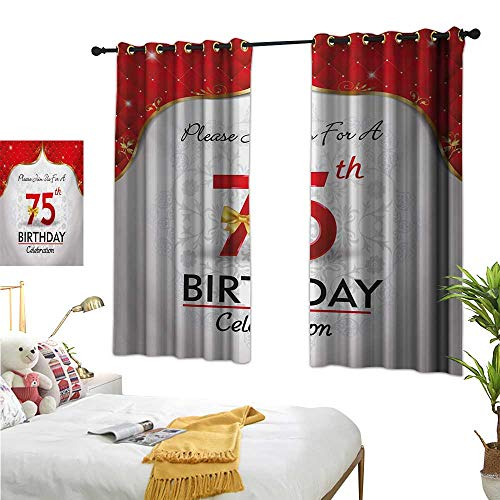 MartinDecor 75th Birthday Blackout Draperies for Bedroom Royal Classical Birthday Party Floral Invitation Ceremony Please Join Us W55 x L45,Suitable for Bedroom Living Room Study, etc.
