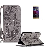 Huawei P9 Lite Stand Case with Free Screen Protector,Funyye Premium Leather Wallet Rope Cover Glitter Sparkle Butterfly Flowers Pattern Protective Case for Huawei P9 Lite - Gray