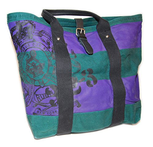 Ralph Lauren Rugby Mens Womens Vintage Canvas Carryall Tote Bag Green Purple ()