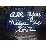 """WIKINEON Neon Sign Light Beer Bar Girls Wall Window Lights Bedroom Home Signs""""ALL YOU NEED IS LOVE""""13×8 Inch ,100V-240V ,White"""