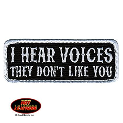 """Iron-On // Saw-On Hot Leathers 4/""""x2/"""" THEY DON/'T LIKE YOU I HEAR VOICES PATCH"""