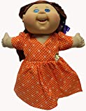 Orange Flower And Dot Print Dress Fits 14 - 16 Inch Cabbage Patch Kid Dolls