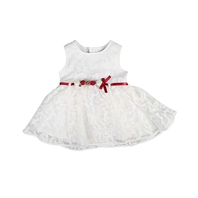 Vestido de Ceremonia de encaje cinturón rojo – bebé niña – Blanco blanco 12-18