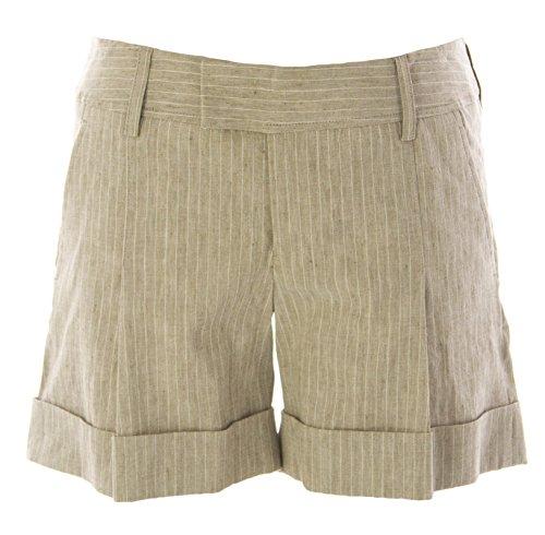 Raven Women's Pinstriped Linen Cuffed Shorts Sz 4 Light Brown