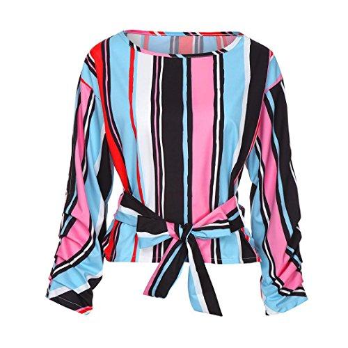 YUMM Ladies Top Tops Donna Casual Camicetta T Shirt Sciolto Patchwork Manica Camicie Multicolore Lunga rEqr5wx