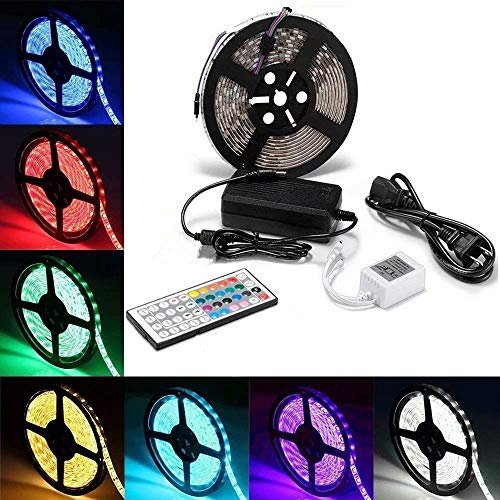 LED Strip Lights,SMD 5050 300 LEDs RGB LED Strips 16.4Ft Waterproof Flexible Strip Color Changing LED Light Strip With 44Keys IR Remote Controller and 12V 5A Power Supply