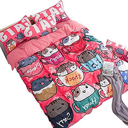 MeMoreCool Children Cartoon Cats AB Version Reactive Printing Bedding Sets Polyester with Good Hand Feelings Flat Twin Home Textiles by MeMoreCool