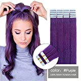 SHOWJARLLY Seamless Remy Tape in Hair Extensions Real Human Hair 24inch Straight #Purple Tape on Skin Weft Hair Extensions (50g,20Pcs) Review