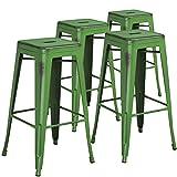"Flash Furniture 4 Pk. 30"" High Backless Distressed Green Metal Indoor-Outdoor Barstool"