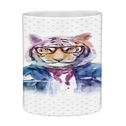 Funny Coffee Mug with Quote Quirky Decor 11 Ounces Funny Coffee Mug Intellectual Tiger with Scarf Torn Denim Jacket and Glasses Watercolor Artwork Decorative Multicolor
