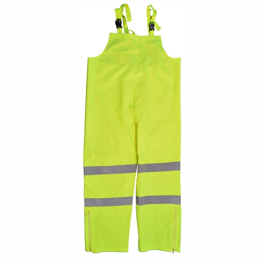 Petra Roc LBIP-CE-XL Bib Rain Pants, ANSI Class E 300D Oxford/PU Coating Waterproof, Lime Green, XL