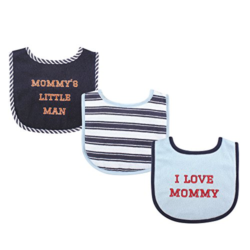 Luvable Friends 3 Piece Drooler Bibs with Fiber Filling for Boys, I Love Mommy]()